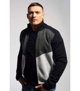 Чоловічий в'язаний светр на замку (07).
