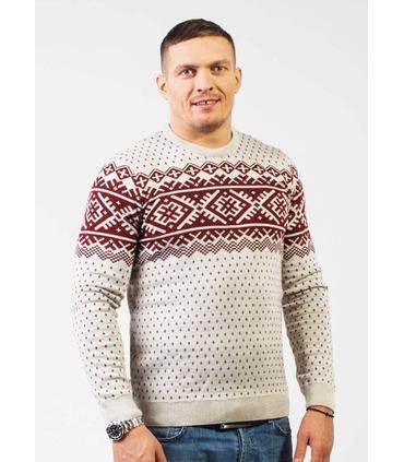 Чоловічий в'язаний светр з зимовим візерунком (01).