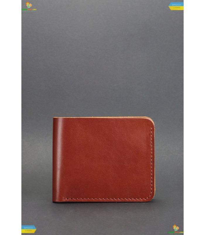 Шкіряне портмоне 4.1 з чотирма кишенями, Коньяк.