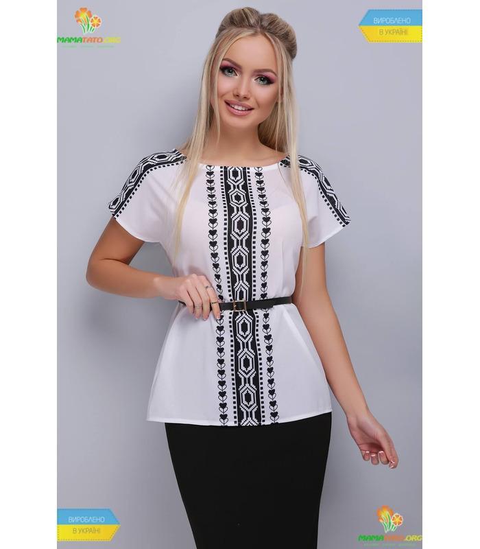 Блуза Мира Черный Орнамент, женская одежда
