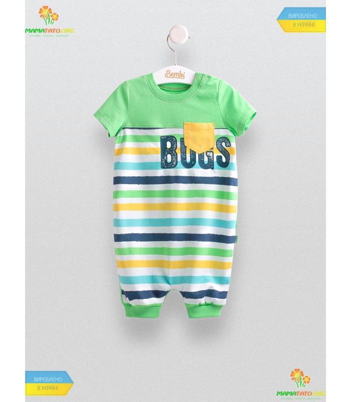 Напівкомбінезон Смужка (ПК149) GR, купити літній дитячий одяг
