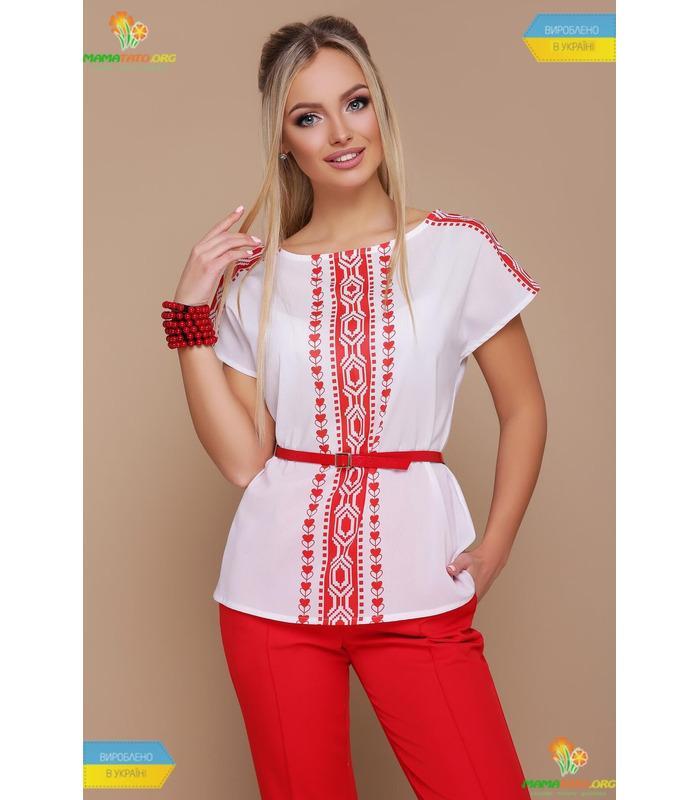 Блуза Мира Красный Орнамент