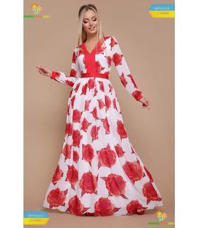 Платье Каролина Красная Роза, длинное шифоновое платье купить