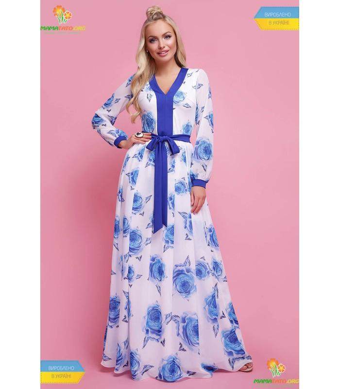 Платье Каролина Синяя Роза, шикарное платье в пол купить