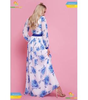 Платье Каролина Синяя Роза,длинное шифоновое платье