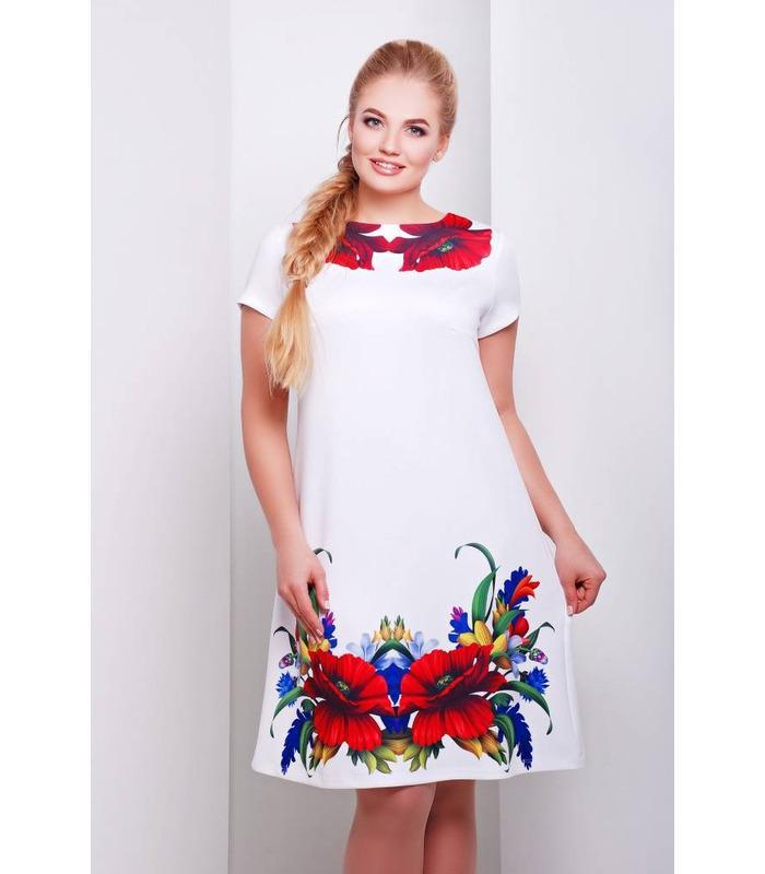 Пишна краса - сукня трапеція з маками.