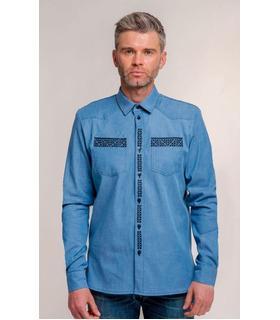 Чоловіча джинсова сорочка з вишивкою.