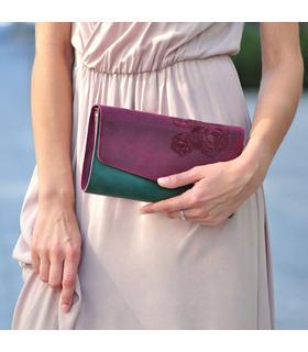 """Жіноча сумка """"Троянди для Еліс"""" (Виноград-Смарагд/Графіт)."""