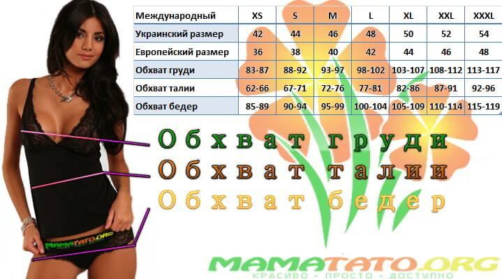 Размерная сетка (размеры) ТМ MamaTyta в интернет-магазине МамаТато (Полная)