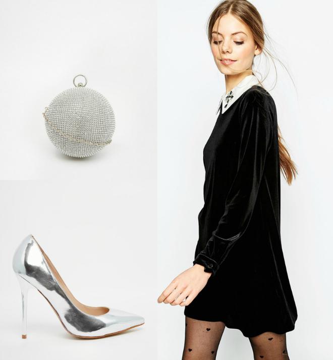 Сукня Asos, клатч Aldo, взуття Dune